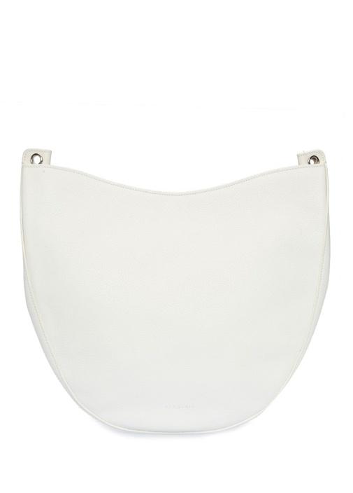 Beyaz Logolu Kadın Deri Omuz Çantası