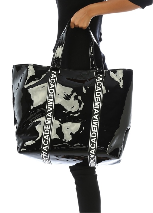 Siyah Logo Bantlı Rugan Büyük AlışverişÇantası