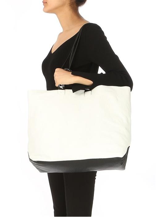 Beyaz Logolu Kadın Alışveriş Çantası