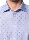 Slim Fit Mavi İngiliz Yaka Mikro Desenli Gömlek