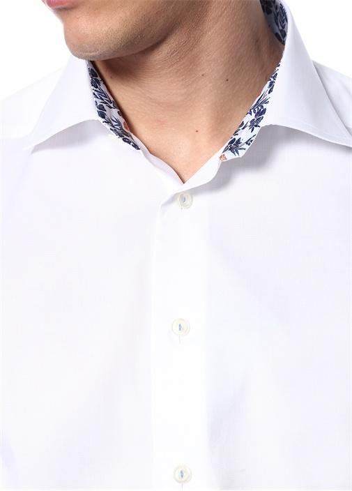 Slim Fit Beyaz İngiliz Yaka Çiçek Detaylı Gömlek