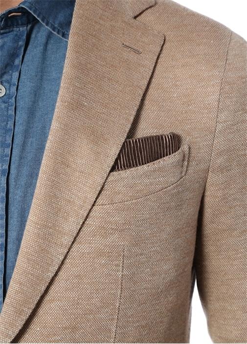 Drop 8 Bej Mendil Detaylı Keten Ceket