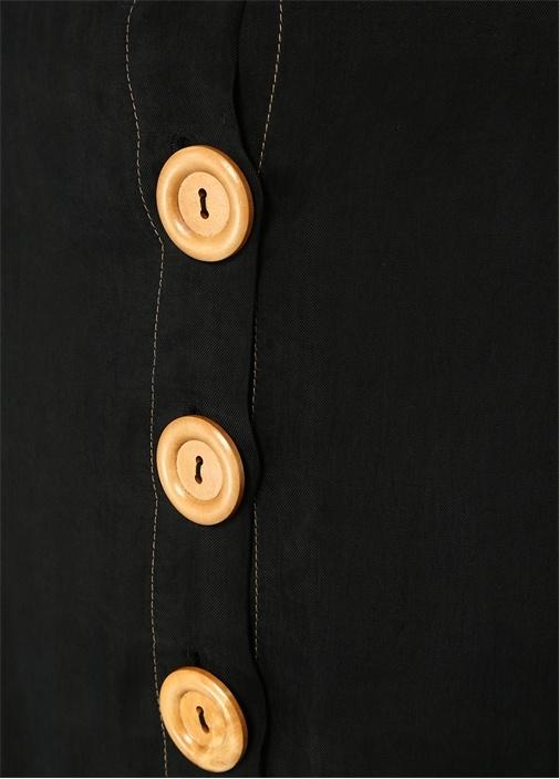 Siyah Önü Düğmeli Kontrast Dikişli MiniEtek