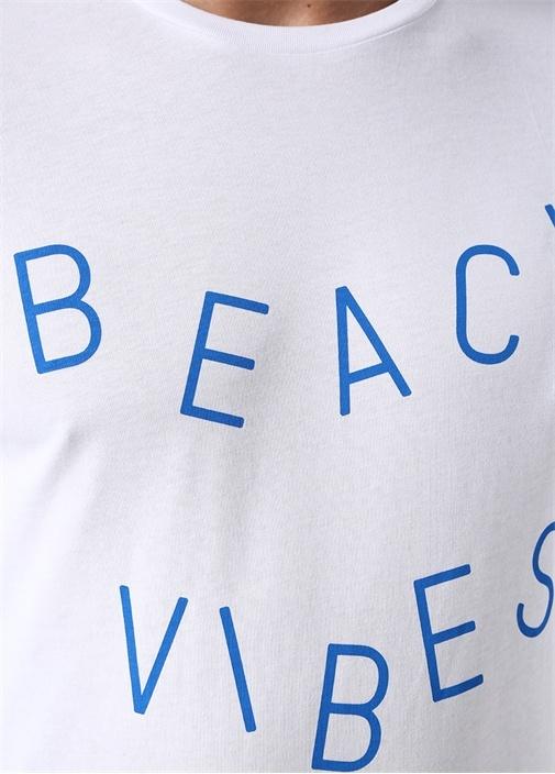 Beach Vibes Beyaz Bisiklet Yaka Sloganlı T-shirt