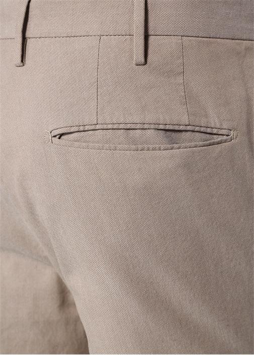 Tight Fit Bej Yüksek Bel Dokulu Pantolon