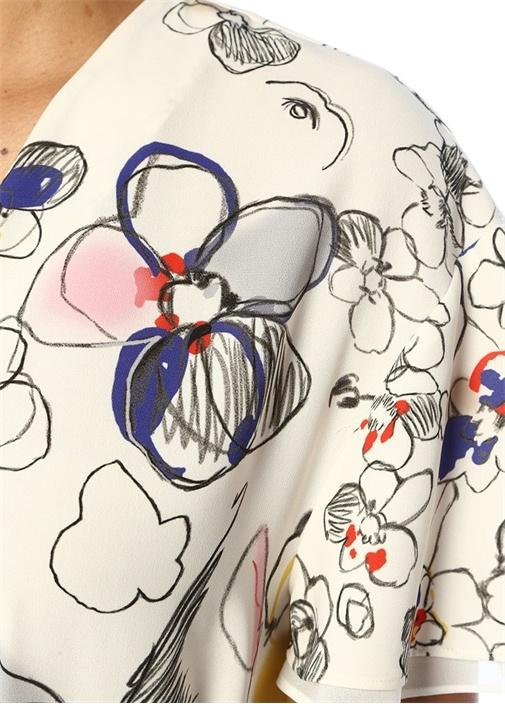 Beyaz V Yaka Karalama Çiçek Desenli Midi Elbise