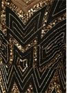 Siyah Gold V Yaka İşlemeli Maksi Abiye Elbise
