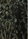 Siyah Çiçek İşlemeli Uzun Kol Midi Kokteyl Elbise