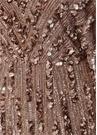 Pembe V Yaka İşlemeli Maksi Tül Abiye Elbise