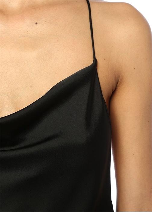 Siyah Degajeli İp Askılı Saten Bluz