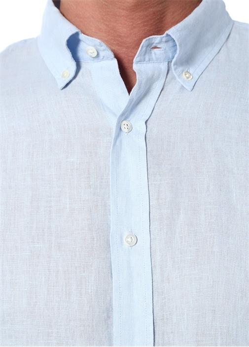 Martin Mavi Düğmeli Yaka Keten Gömlek