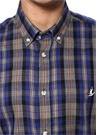 Slim Fit Mor Düğmeli Yaka Ekoseli Gömlek