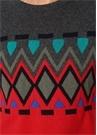 Kırmızı Geometrik Desen Jakarlı Yün Kazak
