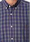 Comfort Fit Gri Düğmeli Yaka Ekose Desenli Gömlek