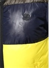 Sarı Lacivert Kapüşonlu Puff Mont