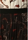 Siyah Zincir Desenli Pilili Midi Şifon Etek