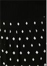 Siyah Karo Desenli Asimetrik Volanlı Midi Etek