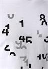 Beyaz Reflektör Rakam Baskılı Basic T-shirt