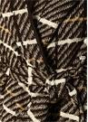 Kahverengi Kapüşonlu Ekoseli Beli Kuşaklı Palto