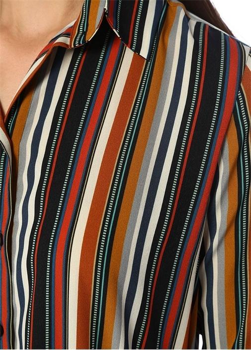 Renkli Çizgili Beli Kuşaklı Midi GömlekElbise