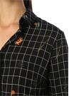 Siyah Kareli Çiçek Desenli Midi Gömlek Elbise