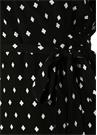 Siyah Karo Desenli Fırfırlı Mini Anvelop Elbise