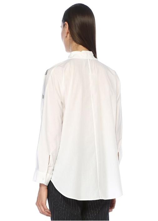 Beyaz İngiliz Yaka Taşı İşleme Detaylı Gömlek