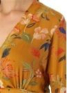Sarı V Yaka Çiçekli Önü Düğmeli Şifon Bluz