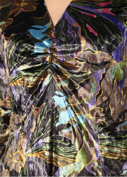 Yeşil V Yaka Çiçekli Büzgülü Midi Kadife Elbise