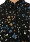 Siyah Yaprak Desenli Uzun Kol Bol Paça Tulum