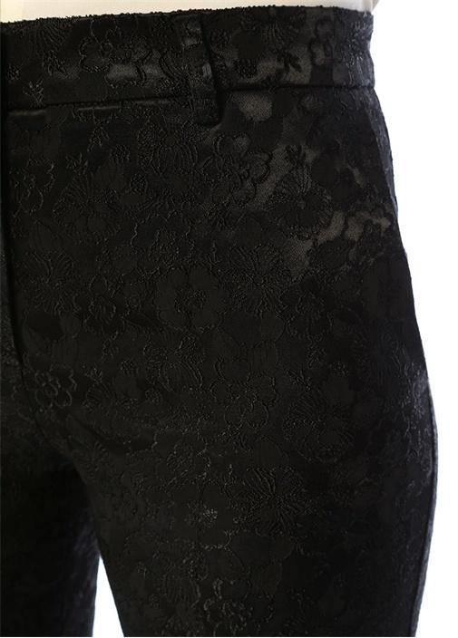 Siyah Çiçek Brokarlı Cigarette Pantolon