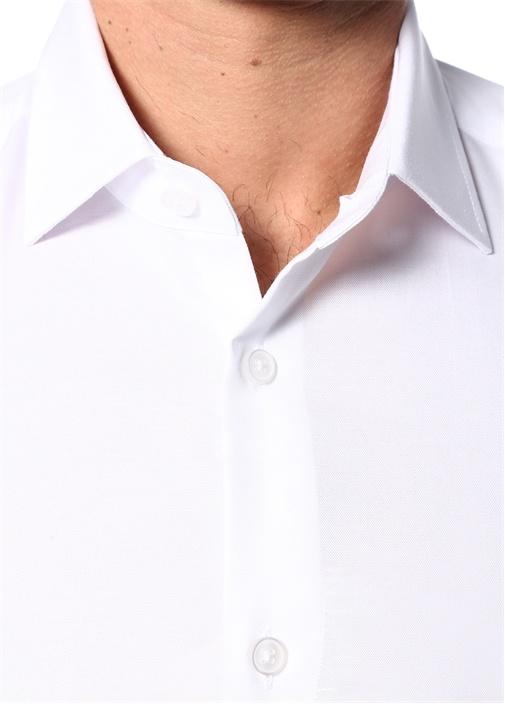 Slim Fit Beyaz Noniron Özellikli KlasikGömlek
