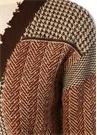 Kahverengi Patchwork Detaylı Yıpratmalı Hırka