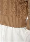 Bej Beyaz Gömlek Garnili Saç Örgü Yün Kazak