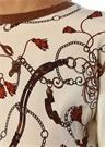 Ekru Önü Zincir Desenli İpek Garnili Kazak
