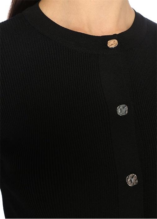 Siyah Gold Düğmeli Yarım Kol Dar Hırka
