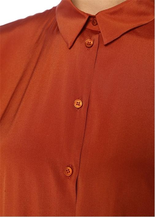 Kiremit İngiliz Yaka Yarasa Kollu İpek Gömlek