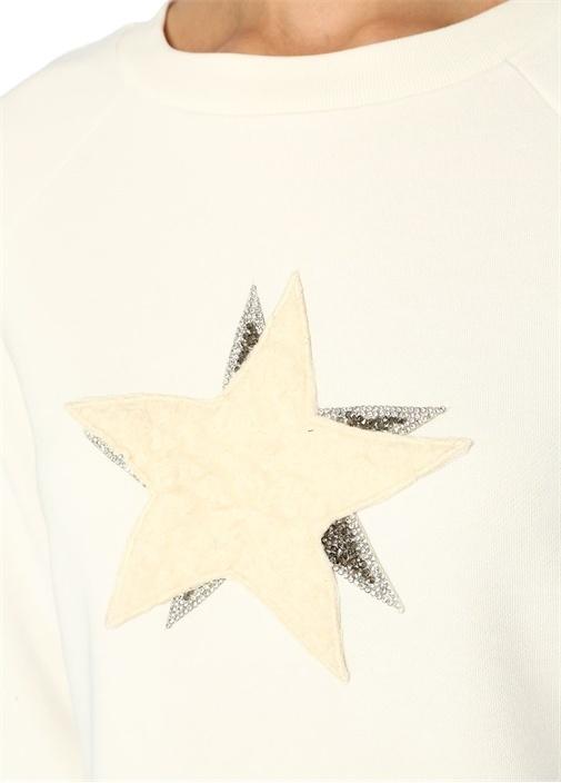 Beyaz Yıldız Patch'li Sweatshirt