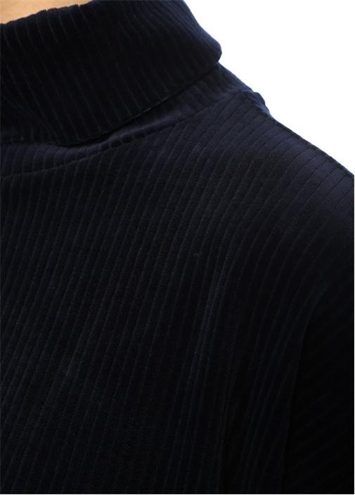 Lacivert Dik Yaka Düşük Kol Kadife Sweatshirt