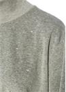 Gri Dik Yaka Taşlı Balon Kol Kadife Sweatshirt