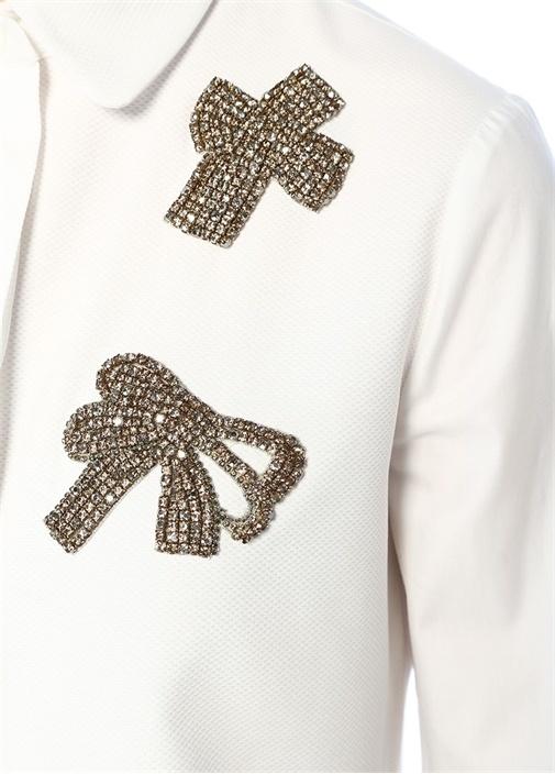 Beyaz Taşlı Kurdele Patchli Dokulu Gömlek