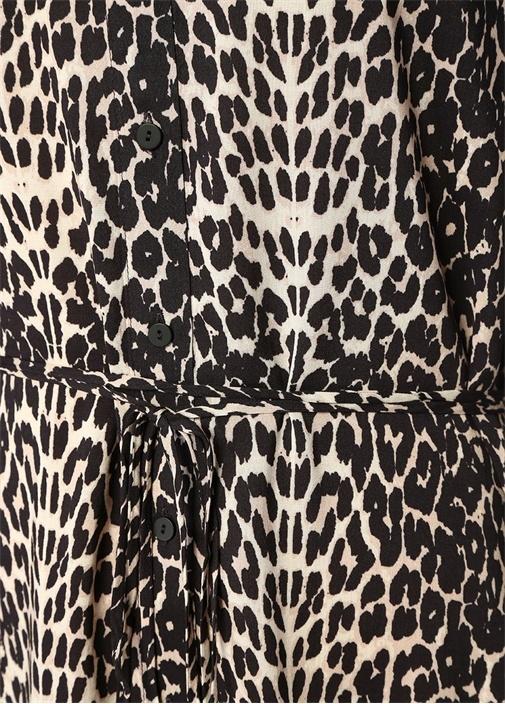 Anya Feline Leopar Desenli Midi Gömlek Elbise