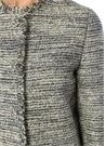 Bisiklet Yaka Taş Düğmeli Simli Tweed Ceket