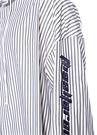 Beyaz Kapüşonlu Çizgili Logo Nakışlı Gömlek
