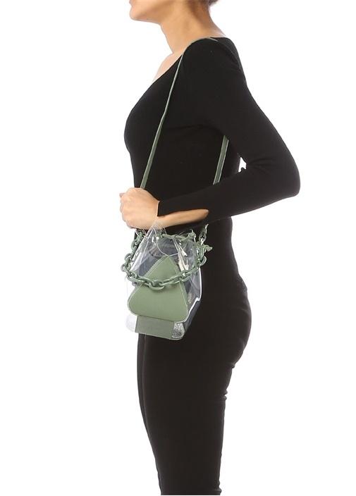 Mani C Mini Haki Kadın Transparan Büzgülü Çanta