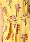 Florence Sarı Çiçekli Midi Krep Plaj Elbisesi