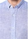 Lacivert İngiliz Yaka Keten Gömlek