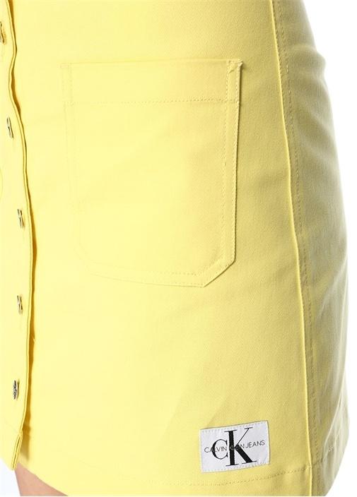 Sarı Önü Düğmeli Logo Detaylı Mini JeanEtek