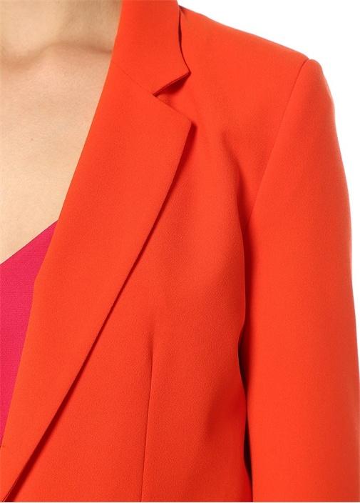 Turuncu Kelebek Yaka Tek Düğmeli Krep Blazer Ceket