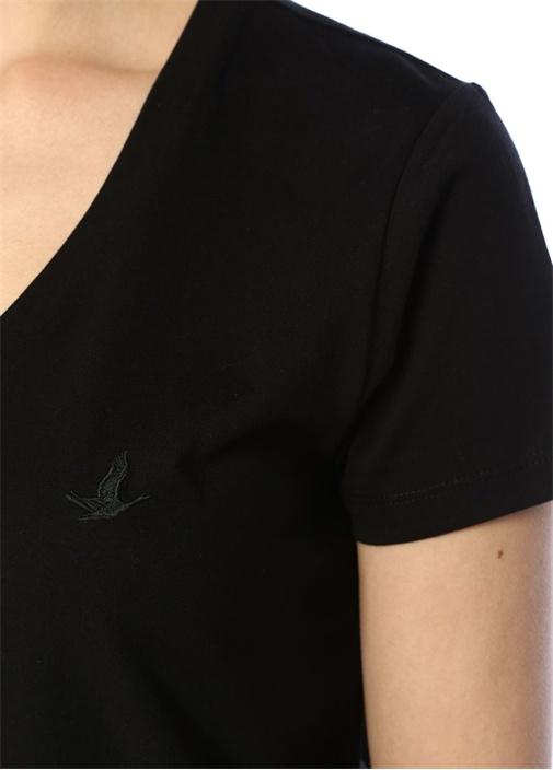 Siyah V Yaka Dökümlü T-shirt
